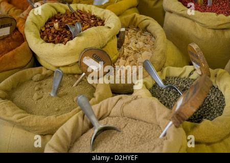 Corsica: Ajaccio market - spices - Stock Photo