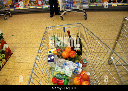 Bremen, Germany, shopping trolley in a supermarket - Stock Photo
