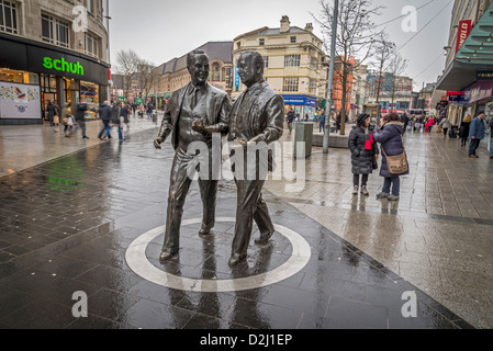 The statue of football pools and stores millionaires Sir John ( left) and his brother Cecil Moores in Lord Street - Stock Photo