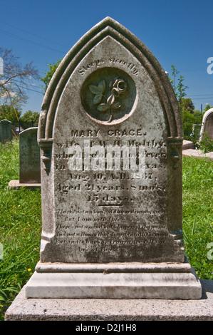 19th century tombstone at Old Bayview Cemetery, Corpus Christi, Gulf Coast, Texas, USA - Stock Photo