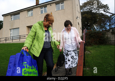 A Young disabled women lives independently with help from her carer, she goes shopping. - Stock Photo