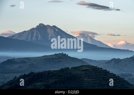 Mountains and hills views of Uganda, Africa - Stock Photo