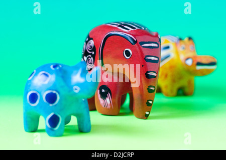 carved miniature soapstone novelty african animal figures - Stock Photo