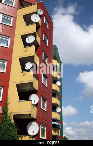 Berlin, Germany, satellite dishes on a colorful Hochaus - Stock Photo