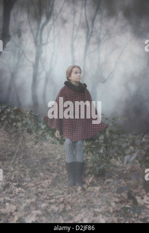 a girl with a red cape in the dark woods - Stock Photo
