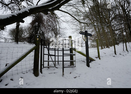 Gateway on the Ridgeway in Winter Snow - Stock Photo