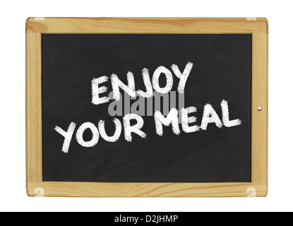 enjoy your meal on a blackboard - Stock Photo