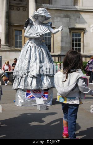 street performer at national gallery London - Stock Photo