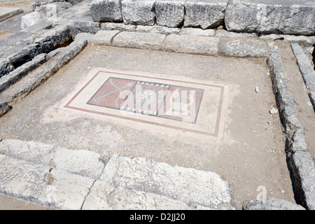 Letoon. Turkey. The fine mosaic on the cella floor of the Temple of Apollo and Artemis. - Stock Photo