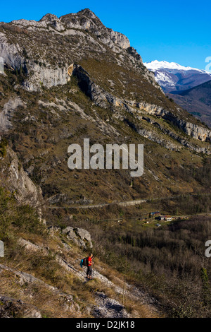Walker with distant snowy mountains, French Pyrenees - Stock Photo