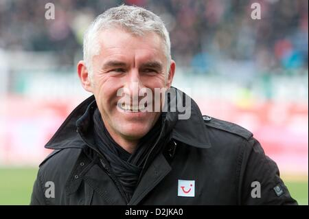 Hannover, Germany. 26th January 2013. Hannover's head coach Mirko Slomka stands in the stasium before the Bundesliga - Stock Photo