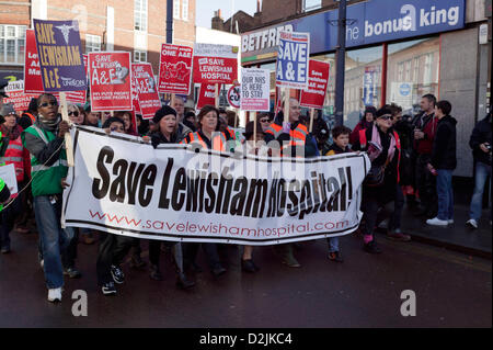 London, UK. 26th January 2013. Demonstrators on a march against Lewisham NHS cuts to the Maternity and A&E departments - Stock Photo