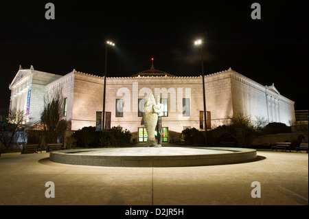Night view of the John G. Shedd Aquarium and Man with Fish statue in Chicago. MAX HERMAN/ALAMY - Stock Photo