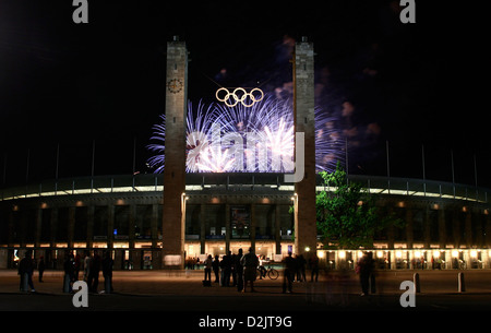 Fireworks during the Pyronale 2009 over the Olympic Stadium, Berlin, Germany - Stock Photo