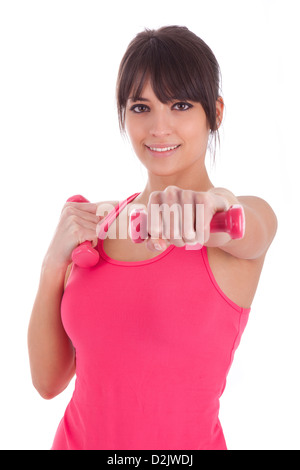 Portrait of a fitness woman working out with free weights,isolated on white background - Stock Photo