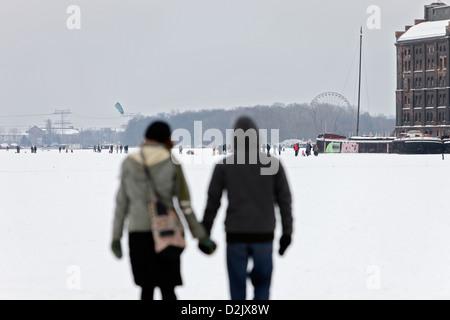 Berlin, Germany, people on the frozen Lake Rummelsburg - Stock Photo