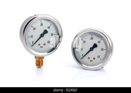 Two different type manometer isolated on white background. Bottom and behind connection type. - Stock Photo