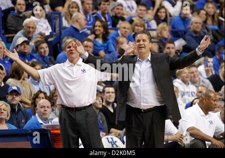 Jan. 26, 2013 - Lexington, KY, USA - Kentucky Wildcats head coach John Calipari right,and assistant coach John Robic, - Stock Photo