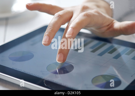 closeup of finger touching screen on tablet-pc with shallow depth of field - Stock Photo