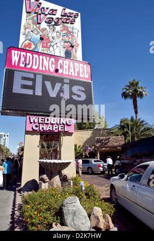 VIVA LAS VEGAS WEDDING CHAPEL IN DOWNTOWN LAS VEGAS , OCTOBER 2010 - Stock Photo