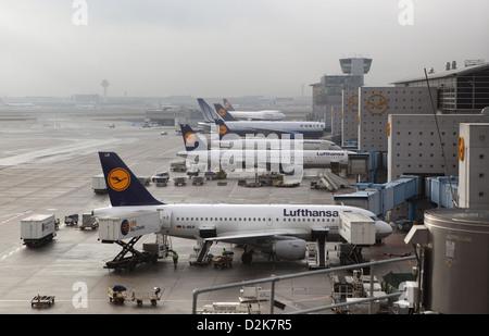 Frankfurt am Main, Germany, Lufthansa Aircraft at Frankfurt Airport - Stock Photo