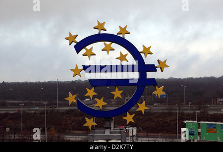 Frankfurt am Main, Germany, Euro logo - Stock Photo