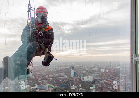 A window cleaner over South London, from the Shard - Stock Photo