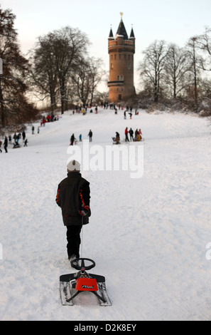 Potsdam, Germany, overlooking the Flatow Tower in Babelsberg Park - Stock Photo