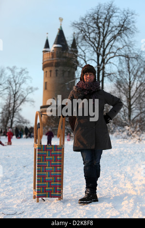 Potsdam, Germany, in front of the carriage with Mrs. Flatow Tower in Babelsberg Park - Stock Photo