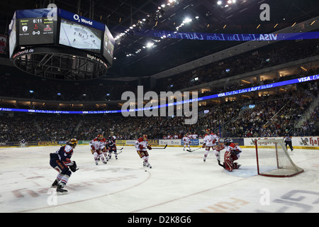 Berlin, Germany, Hockey game at the O2 World Arena - Stock Photo
