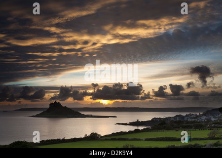 Sunset over St Michaels Mount and Marazion Cornwall England UK - Stock Photo