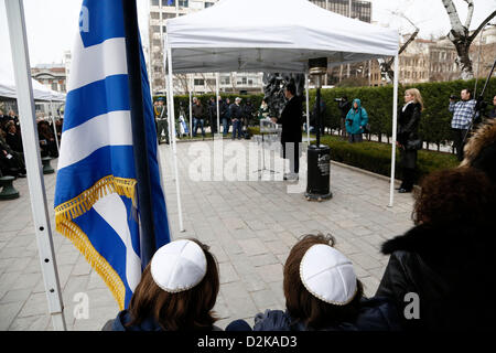 Ceremony in memory of the persecution of the Jewish people during World War II, in Thessaloniki, northern Greece, - Stock Photo
