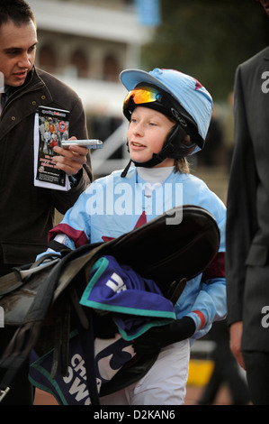 Connor Flint (age 13) on Stambrook Marquesa winner of the 138cm and Under Charles Owen Pony Race Final at a childrens - Stock Photo