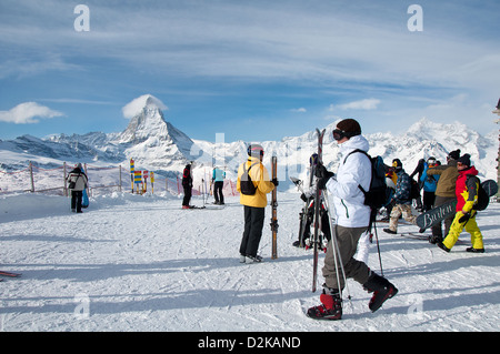 After leaving the Gornergrat train, Matterhorn in the background - Stock Photo