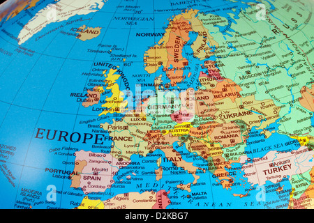 A map of Europe continent showing the countries on a globe, 2013 - Stock Photo