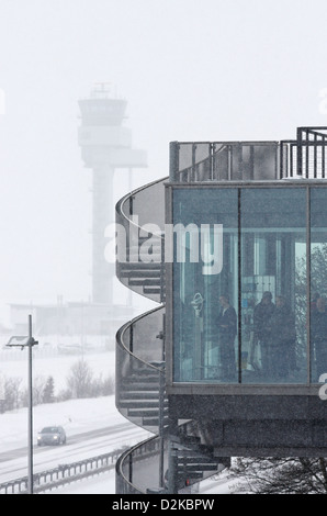 Leipzig, Germany, picture window at the airport Leipzig-Halle After snowfall driving - Stock Photo