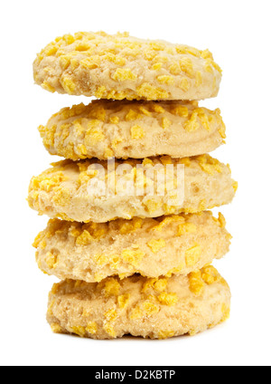 homemade cookies with cornflake pieces isolated on white - Stock Photo