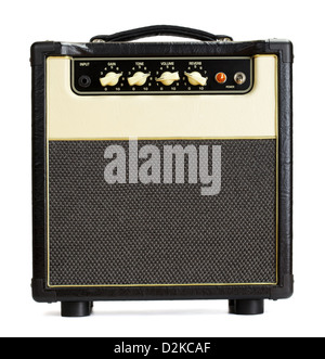 black vintage guitar amplifier, isolated on white - Stock Photo
