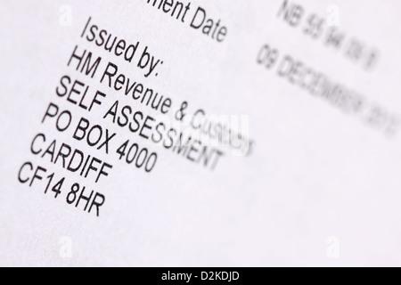 HMRC HM Revenue and Customs Self Assessment form - Stock Photo