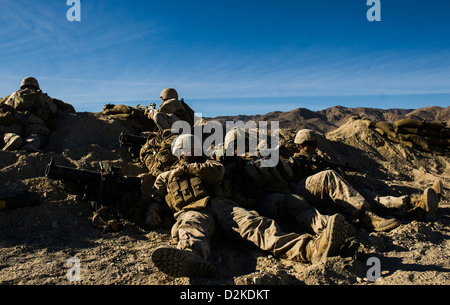 U.S. Marine Corps 3rd Battalion 4th Marine Regiment infantry rest while participating in Integrated Training Exercise (ITX) 13-1 at Twentynine Palms Marine Corps Base, California 22 Jan, 2013. The ITX is the training exercise that Marines come to prior to
