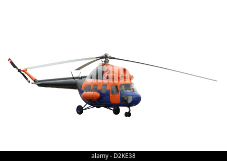 The orange helicopter separately on a white background - Stock Photo