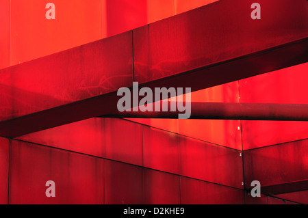 Red metal industrial construction - detail taken in sunny day (with shadows and space feeling) - Stock Photo