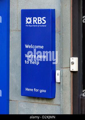 RBS Royal Bank of Scotland logo. Market Place, Kendal, Cumbria, England, United Kingdom, Europe. - Stock Photo
