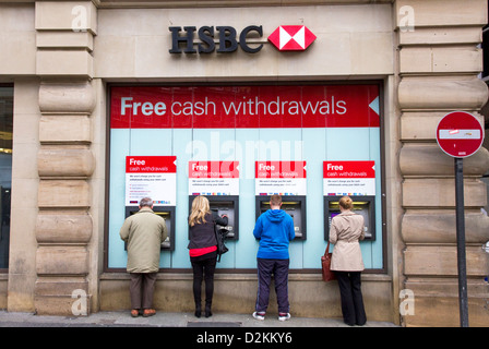 HSBC cashpoints, Grey Street, city centre,  Newcastle upon Tyne, Tyne and Wear, England, UK - Stock Photo