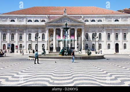 Rossio Square(also known as Pedro IV Square ( Praça de D. Pedro IV)) and National Theatre, central Lisbon, Portugal. - Stock Photo