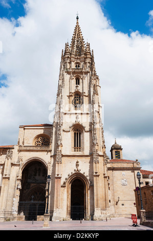 San Salvador Cathedral, on Plaza de Alfonso el Casto, Oviedo, Asturias, Spain - Stock Photo