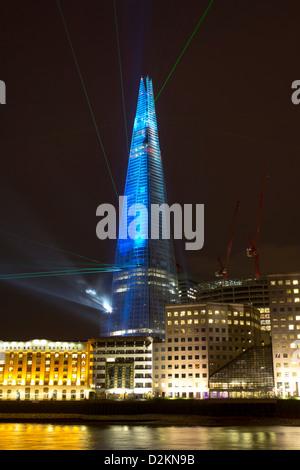 Inaugural laser light Show - The Shard Skyscraper - London - Stock Photo