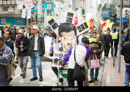 Hong Kong, China. 27th January 2013. People gather for march to protest against the city leader on Sunday, 27 Jan - Stock Photo