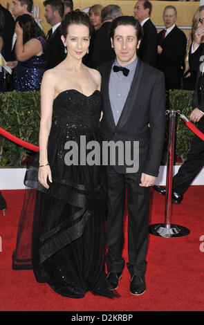 Los Angeles, California, USA. 27th January 2013. Simon Helberg, Jocelyn Towne attending the 19th Annual Screen Actors - Stock Photo