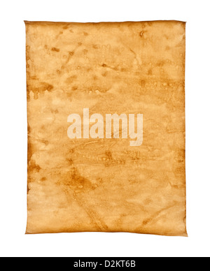 Grungy Old Paper on white background isolated - Stock Photo